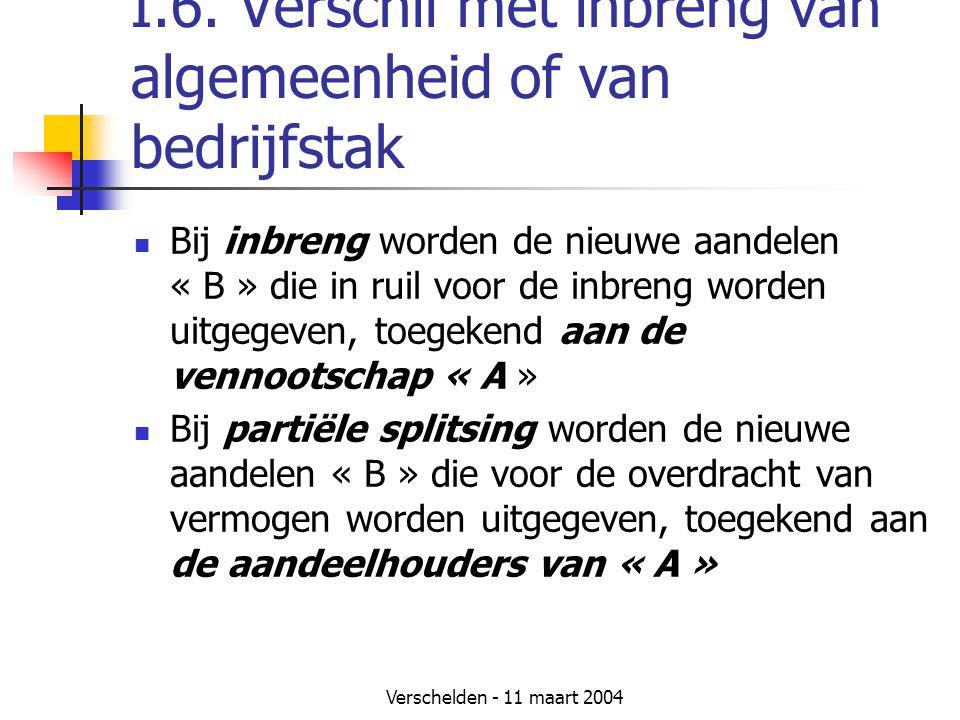 Verschelden - 11 maart 2004 I.6. Verschil met inbreng van algemeenheid of van bedrijfstak  Bij inbreng worden de nieuwe aandelen « B » die in ruil vo