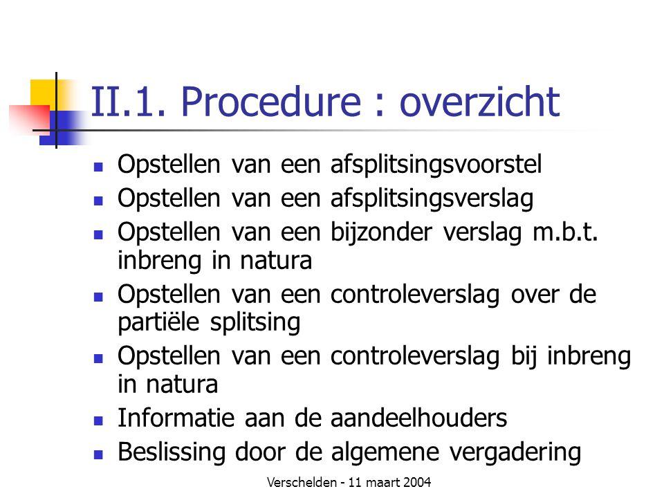 Verschelden - 11 maart 2004 II.1. Procedure : overzicht  Opstellen van een afsplitsingsvoorstel  Opstellen van een afsplitsingsverslag  Opstellen v