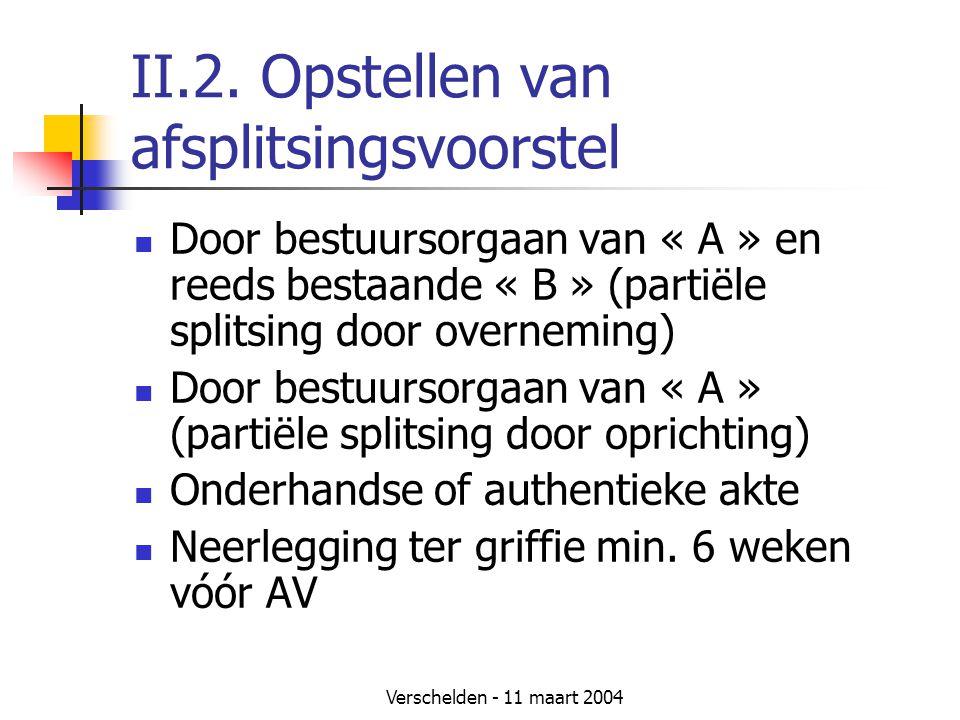Verschelden - 11 maart 2004 II.2. Opstellen van afsplitsingsvoorstel  Door bestuursorgaan van « A » en reeds bestaande « B » (partiële splitsing door