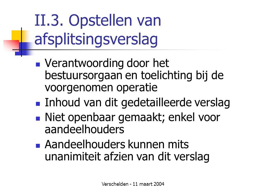 Verschelden - 11 maart 2004 II.3. Opstellen van afsplitsingsverslag  Verantwoording door het bestuursorgaan en toelichting bij de voorgenomen operati