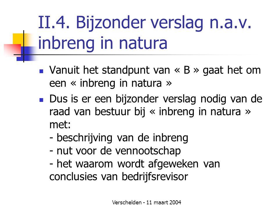 Verschelden - 11 maart 2004 II.4. Bijzonder verslag n.a.v. inbreng in natura  Vanuit het standpunt van « B » gaat het om een « inbreng in natura » 
