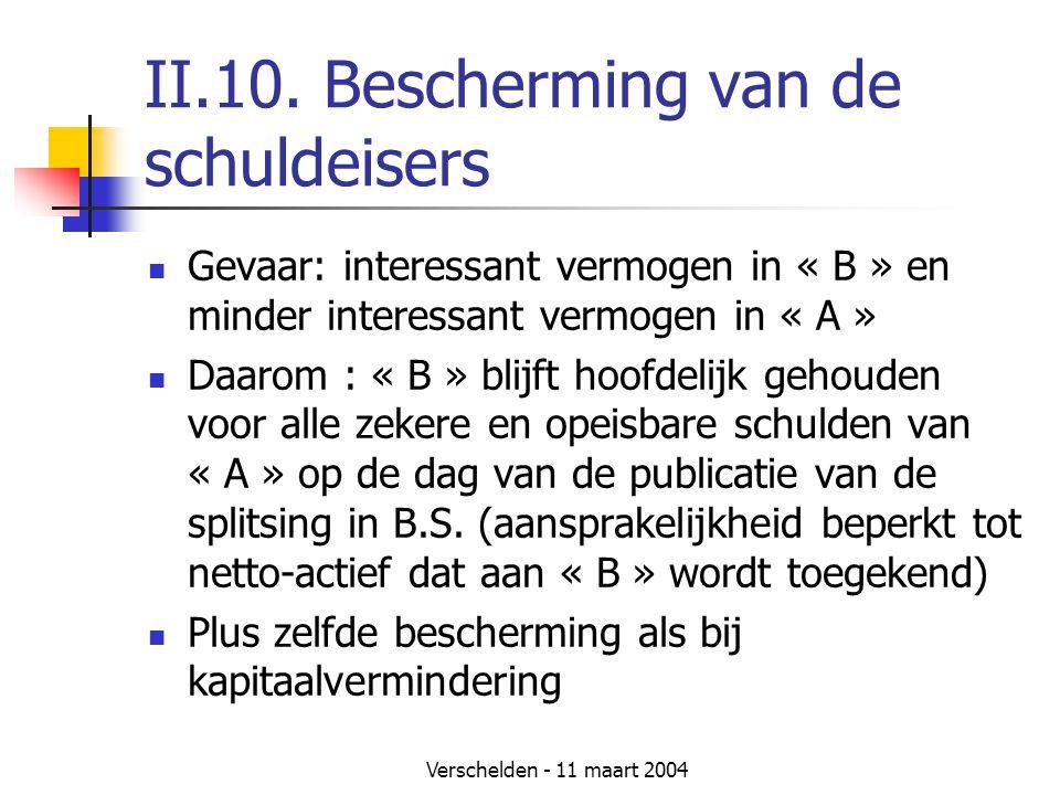 Verschelden - 11 maart 2004 II.10. Bescherming van de schuldeisers  Gevaar: interessant vermogen in « B » en minder interessant vermogen in « A »  D