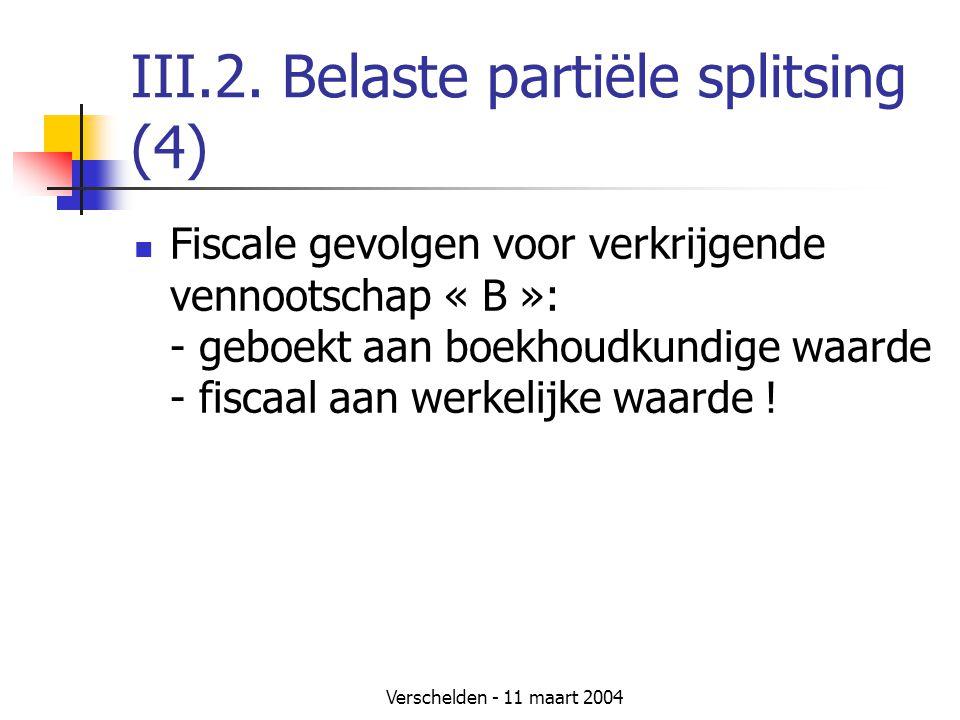 Verschelden - 11 maart 2004 III.2. Belaste partiële splitsing (4)  Fiscale gevolgen voor verkrijgende vennootschap « B »: - geboekt aan boekhoudkundi