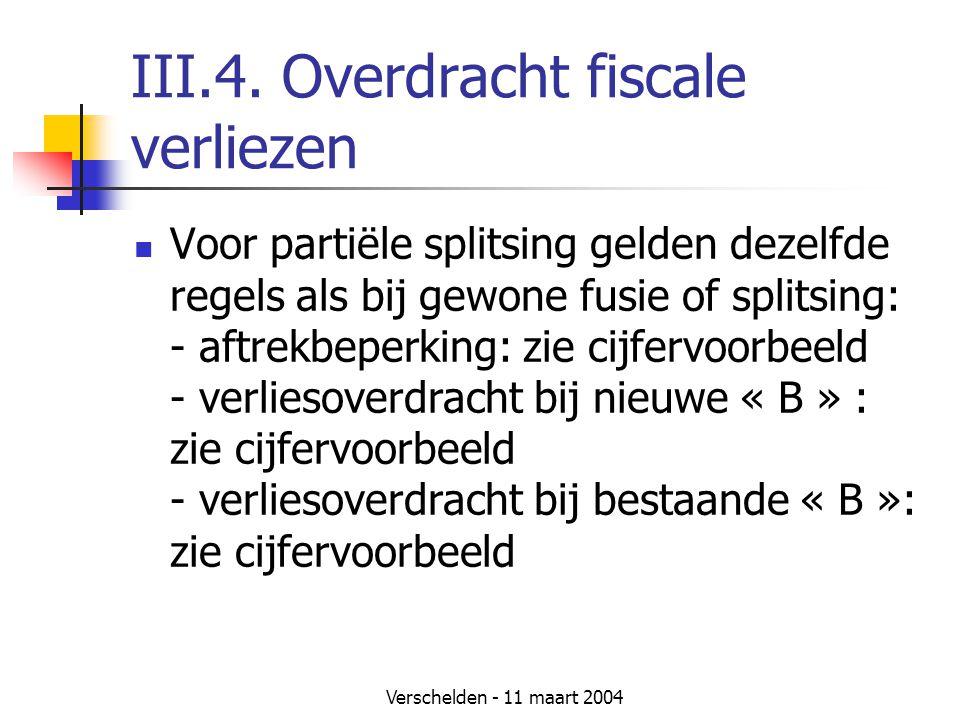 Verschelden - 11 maart 2004 III.4. Overdracht fiscale verliezen  Voor partiële splitsing gelden dezelfde regels als bij gewone fusie of splitsing: -