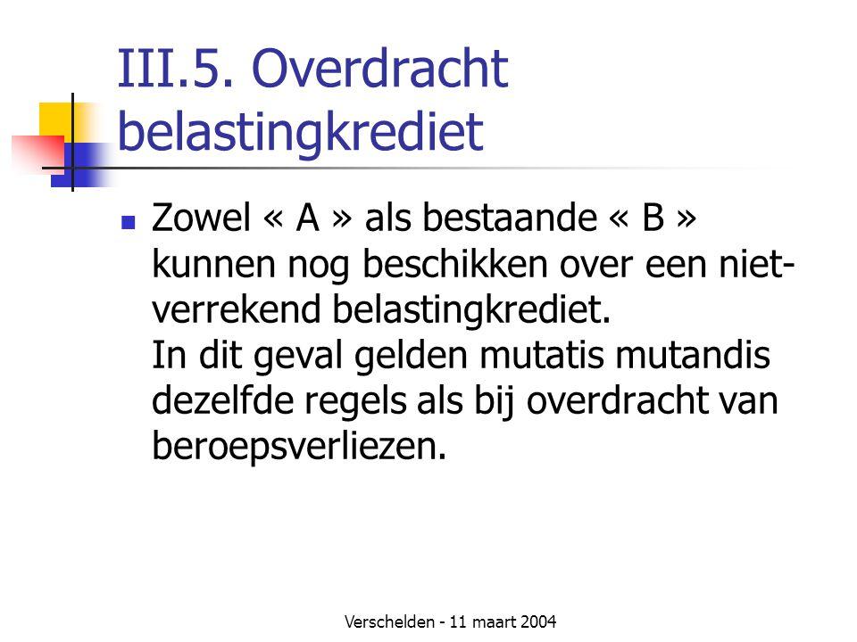 Verschelden - 11 maart 2004 III.5. Overdracht belastingkrediet  Zowel « A » als bestaande « B » kunnen nog beschikken over een niet- verrekend belast