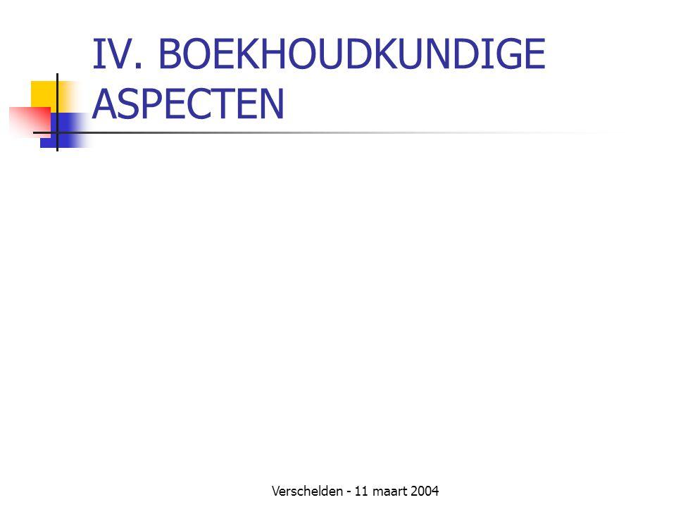 Verschelden - 11 maart 2004 IV. BOEKHOUDKUNDIGE ASPECTEN