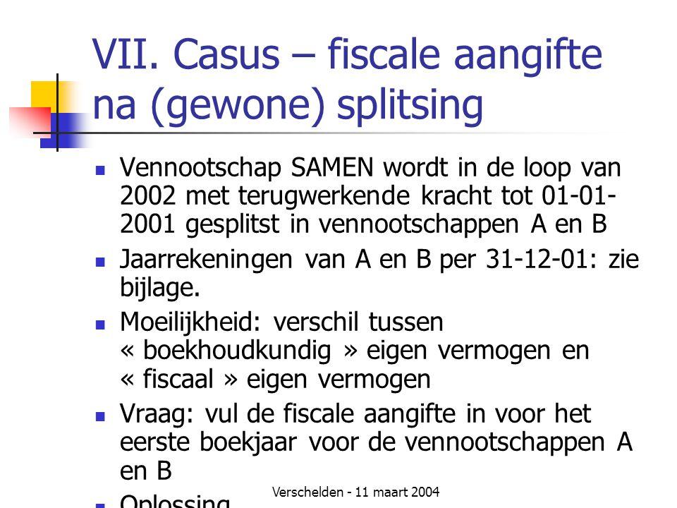 Verschelden - 11 maart 2004 VII. Casus – fiscale aangifte na (gewone) splitsing  Vennootschap SAMEN wordt in de loop van 2002 met terugwerkende krach