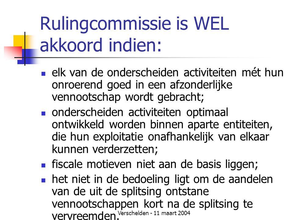 Verschelden - 11 maart 2004 Rulingcommissie is WEL akkoord indien:  elk van de onderscheiden activiteiten mét hun onroerend goed in een afzonderlijke