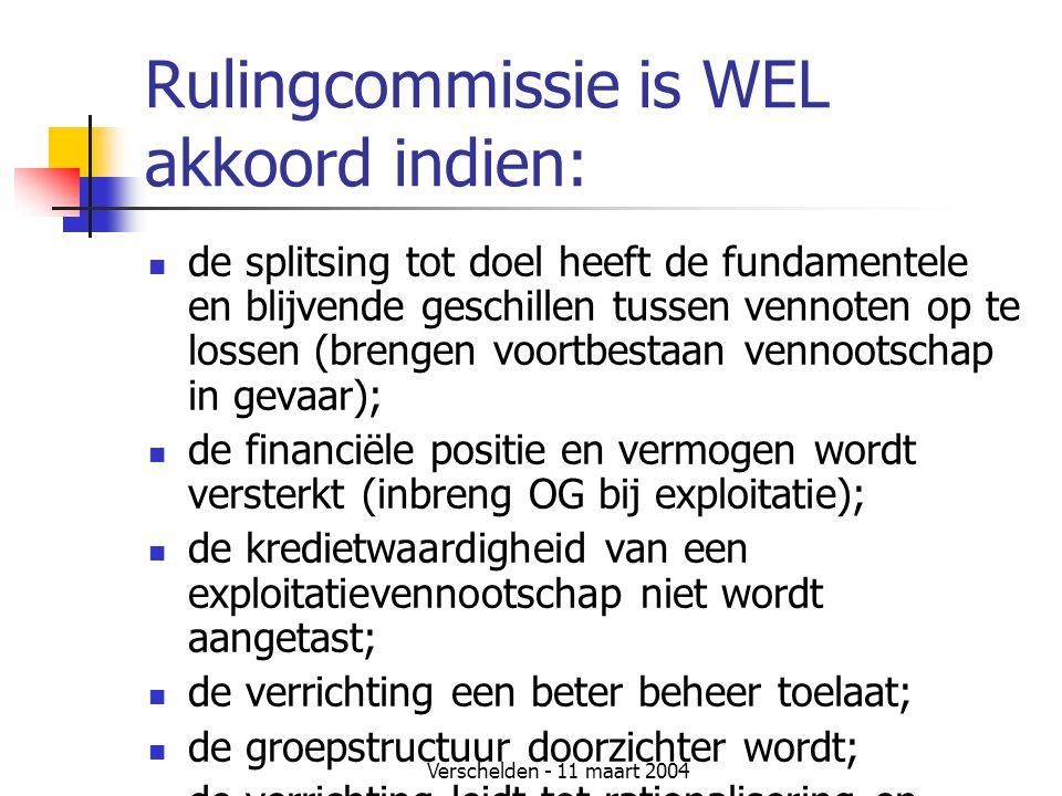Verschelden - 11 maart 2004 Rulingcommissie is WEL akkoord indien:  de splitsing tot doel heeft de fundamentele en blijvende geschillen tussen vennot
