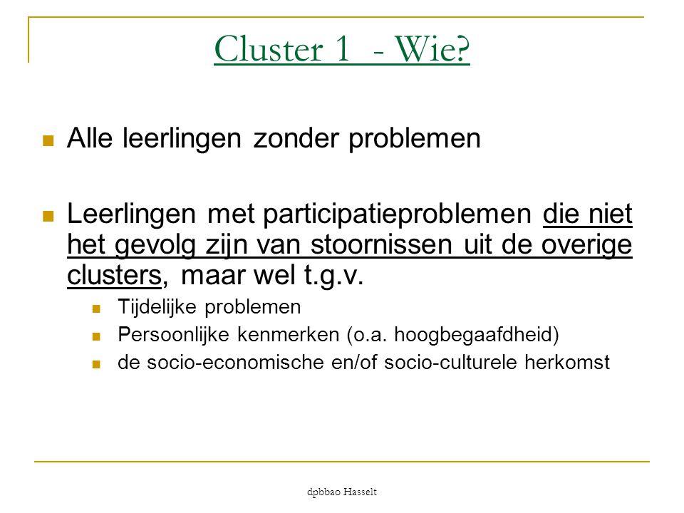 Cluster 1 - Wie?  Alle leerlingen zonder problemen  Leerlingen met participatieproblemen die niet het gevolg zijn van stoornissen uit de overige clu