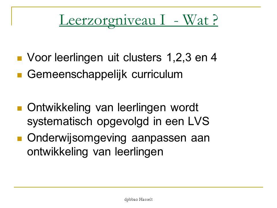 Leerzorgniveau I - Wat ?  Voor leerlingen uit clusters 1,2,3 en 4  Gemeenschappelijk curriculum  Ontwikkeling van leerlingen wordt systematisch opg