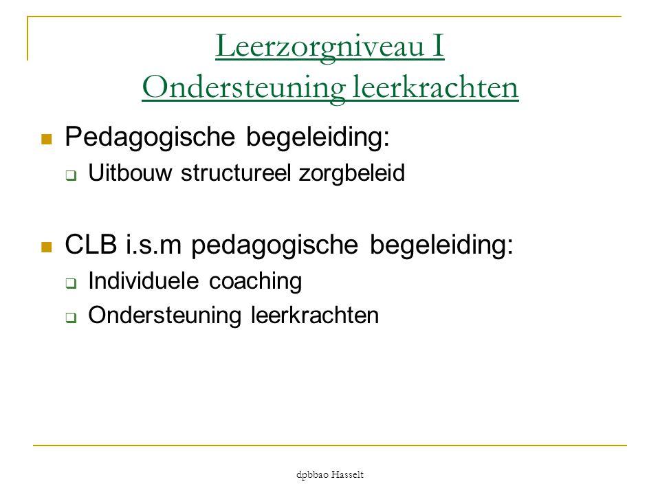 dpbbao Hasselt Leerzorgniveau I Ondersteuning leerkrachten  Pedagogische begeleiding:  Uitbouw structureel zorgbeleid  CLB i.s.m pedagogische begel