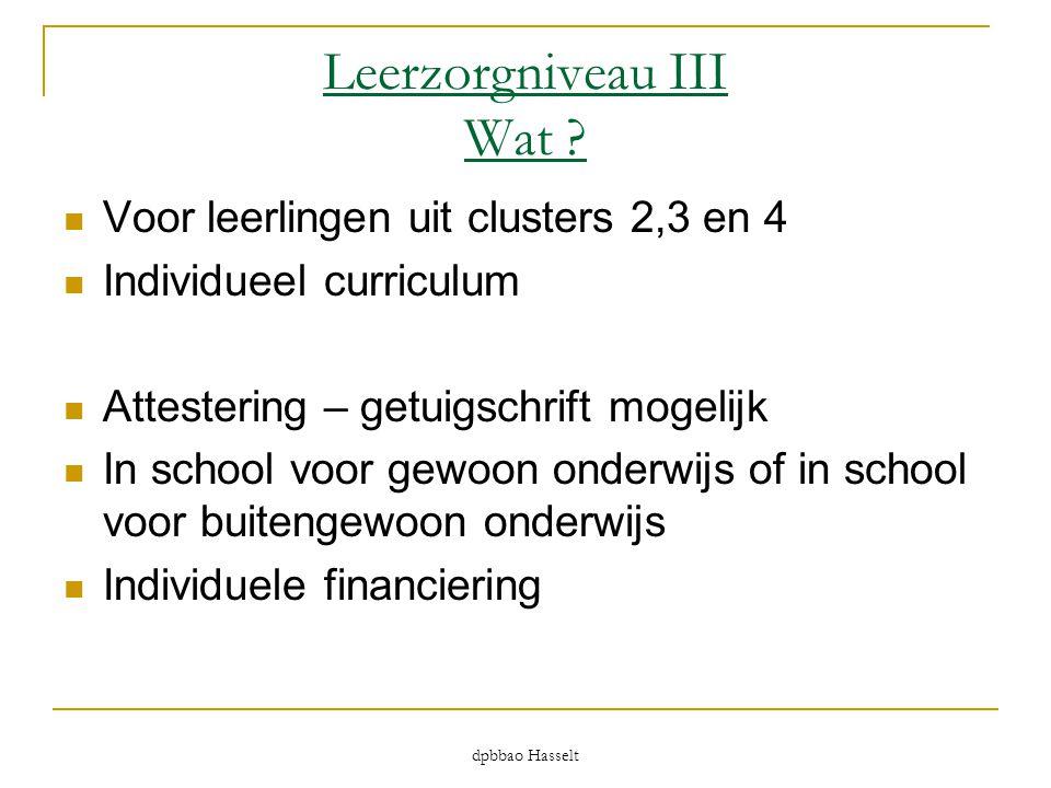 Leerzorgniveau III Wat ?  Voor leerlingen uit clusters 2,3 en 4  Individueel curriculum  Attestering – getuigschrift mogelijk  In school voor gewo