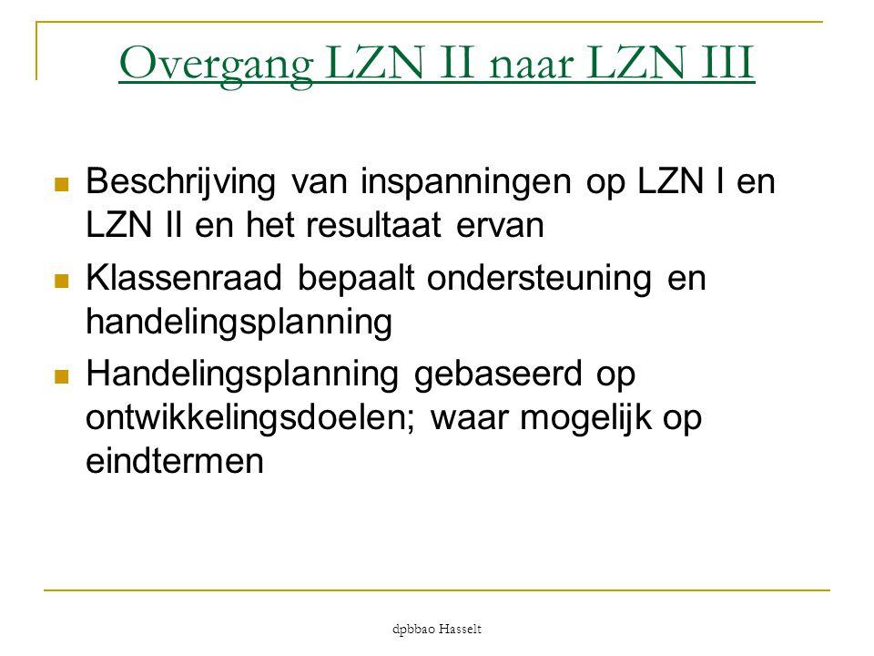 dpbbao Hasselt Overgang LZN II naar LZN III  Beschrijving van inspanningen op LZN I en LZN II en het resultaat ervan  Klassenraad bepaalt ondersteun