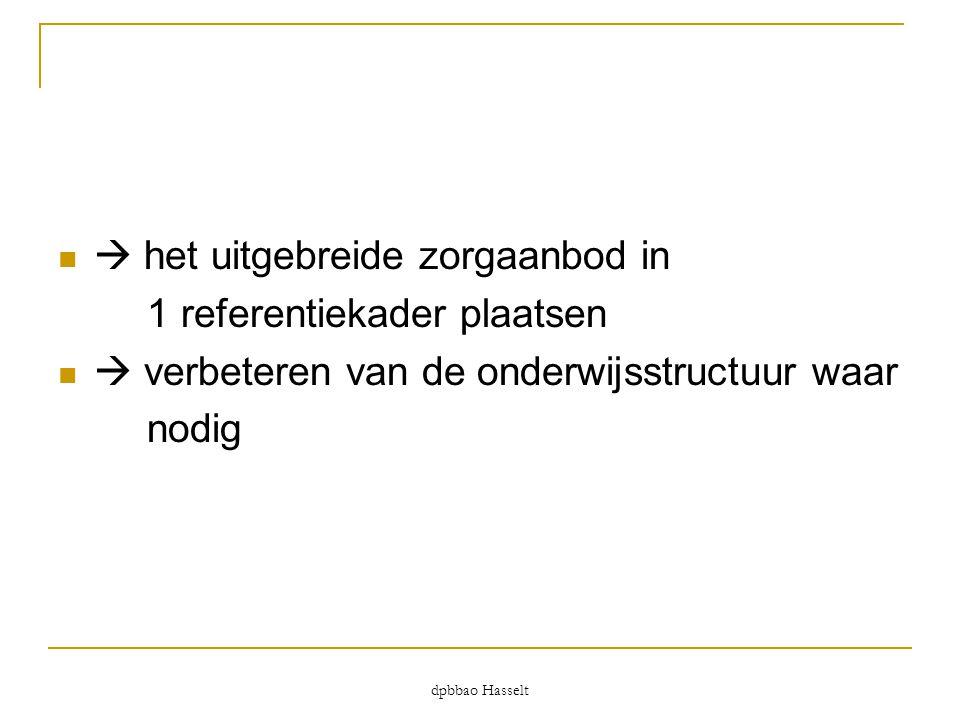 dpbbao Hasselt   het uitgebreide zorgaanbod in 1 referentiekader plaatsen   verbeteren van de onderwijsstructuur waar nodig