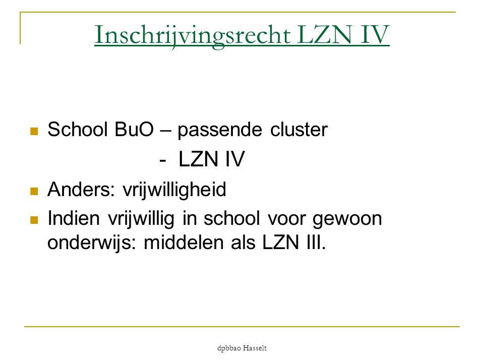 dpbbao Hasselt Inschrijvingsrecht LZN IV  School BuO – passende cluster - LZN IV  Anders: vrijwilligheid  Indien vrijwillig in school voor gewoon o