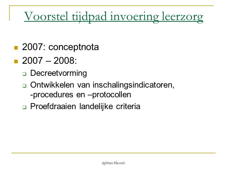 Voorstel tijdpad invoering leerzorg  2007: conceptnota  2007 – 2008:  Decreetvorming  Ontwikkelen van inschalingsindicatoren, -procedures en –prot