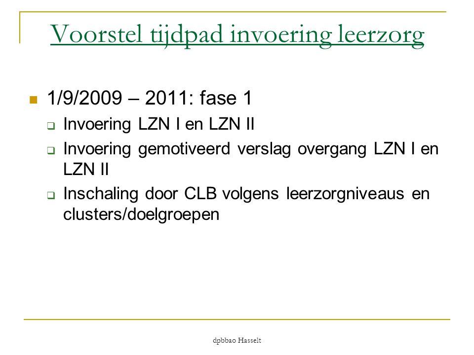 dpbbao Hasselt Voorstel tijdpad invoering leerzorg  1/9/2009 – 2011: fase 1  Invoering LZN I en LZN II  Invoering gemotiveerd verslag overgang LZN