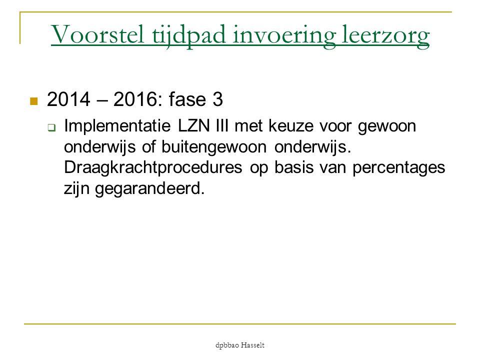 dpbbao Hasselt Voorstel tijdpad invoering leerzorg  2014 – 2016: fase 3  Implementatie LZN III met keuze voor gewoon onderwijs of buitengewoon onder