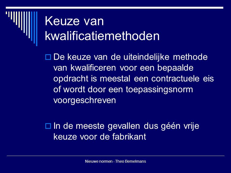 Nieuwe normen - Theo Bemelmans Keuze van kwalificatiemethoden  De keuze van de uiteindelijke methode van kwalificeren voor een bepaalde opdracht is meestal een contractuele eis of wordt door een toepassingsnorm voorgeschreven  In de meeste gevallen dus géén vrije keuze voor de fabrikant