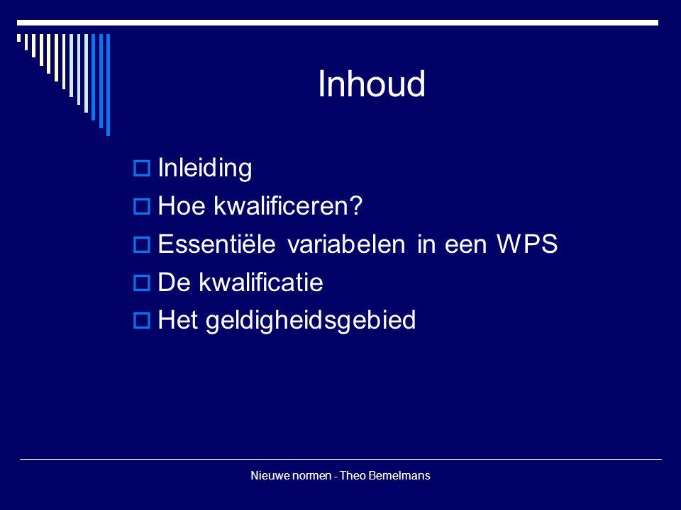 Nieuwe normen - Theo Bemelmans Inhoud  Inleiding  Hoe kwalificeren?  Essentiële variabelen in een WPS  De kwalificatie  Het geldigheidsgebied