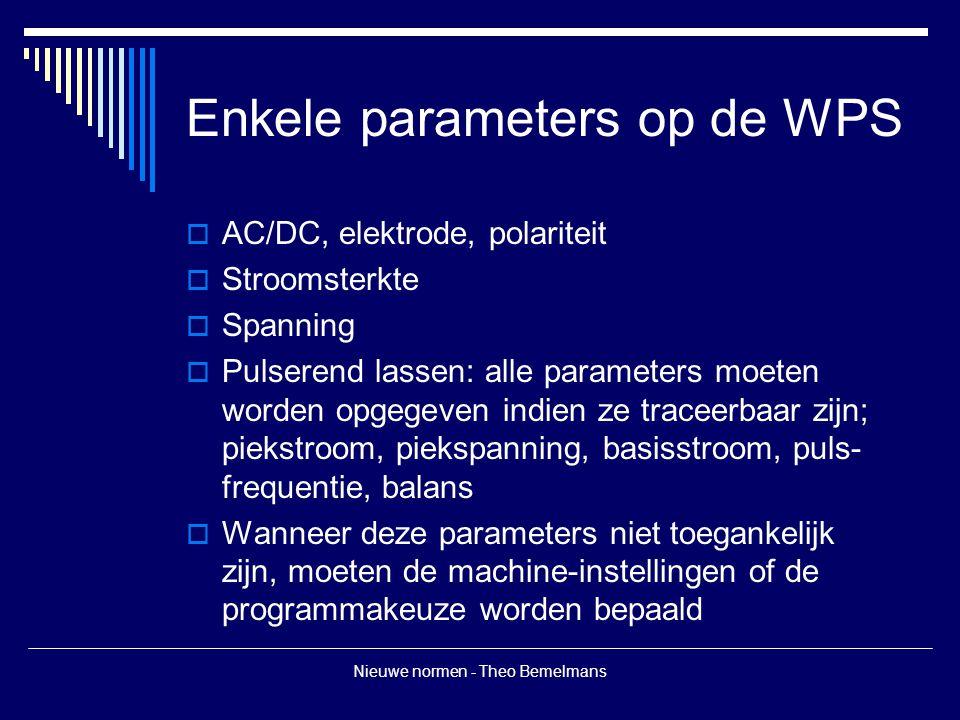 Nieuwe normen - Theo Bemelmans Enkele parameters op de WPS  AC/DC, elektrode, polariteit  Stroomsterkte  Spanning  Pulserend lassen: alle paramete