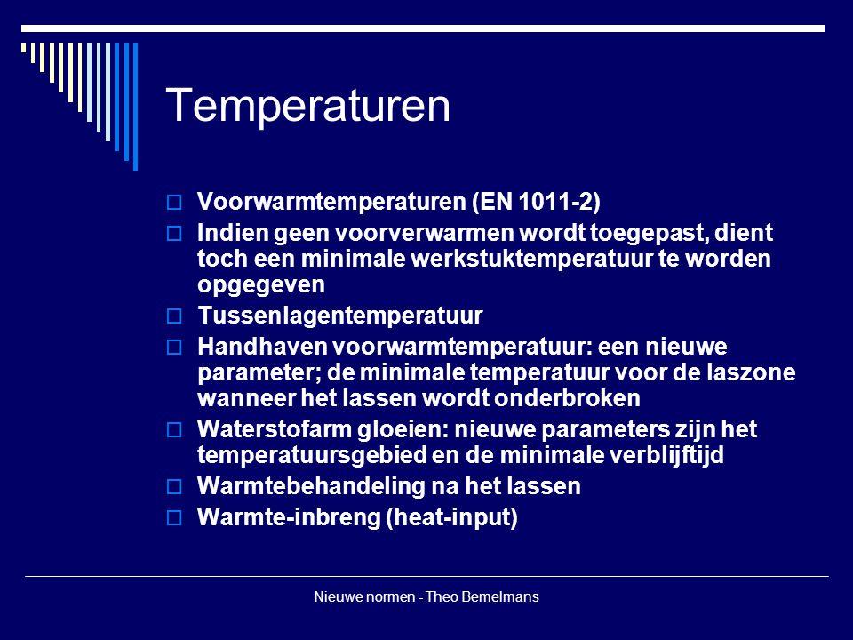 Nieuwe normen - Theo Bemelmans Temperaturen  Voorwarmtemperaturen (EN 1011-2)  Indien geen voorverwarmen wordt toegepast, dient toch een minimale werkstuktemperatuur te worden opgegeven  Tussenlagentemperatuur  Handhaven voorwarmtemperatuur: een nieuwe parameter; de minimale temperatuur voor de laszone wanneer het lassen wordt onderbroken  Waterstofarm gloeien: nieuwe parameters zijn het temperatuursgebied en de minimale verblijftijd  Warmtebehandeling na het lassen  Warmte-inbreng (heat-input)