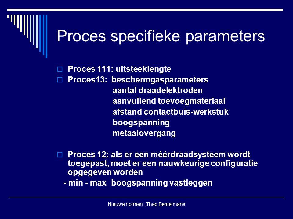 Nieuwe normen - Theo Bemelmans Proces specifieke parameters  Proces 111: uitsteeklengte  Proces13: beschermgasparameters aantal draadelektroden aanvullend toevoegmateriaal afstand contactbuis-werkstuk boogspanning metaalovergang  Proces 12: als er een méérdraadsysteem wordt toegepast, moet er een nauwkeurige configuratie opgegeven worden - min - max boogspanning vastleggen