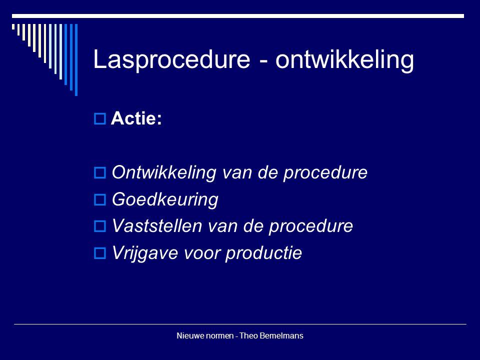 Nieuwe normen - Theo Bemelmans Lasprocedure - ontwikkeling  Pwps  Wpqr met grenzen volgens geldende normen  Wps gebaseerd op wpqr  Kopie wps of daaruit afgeleide lasconstructie