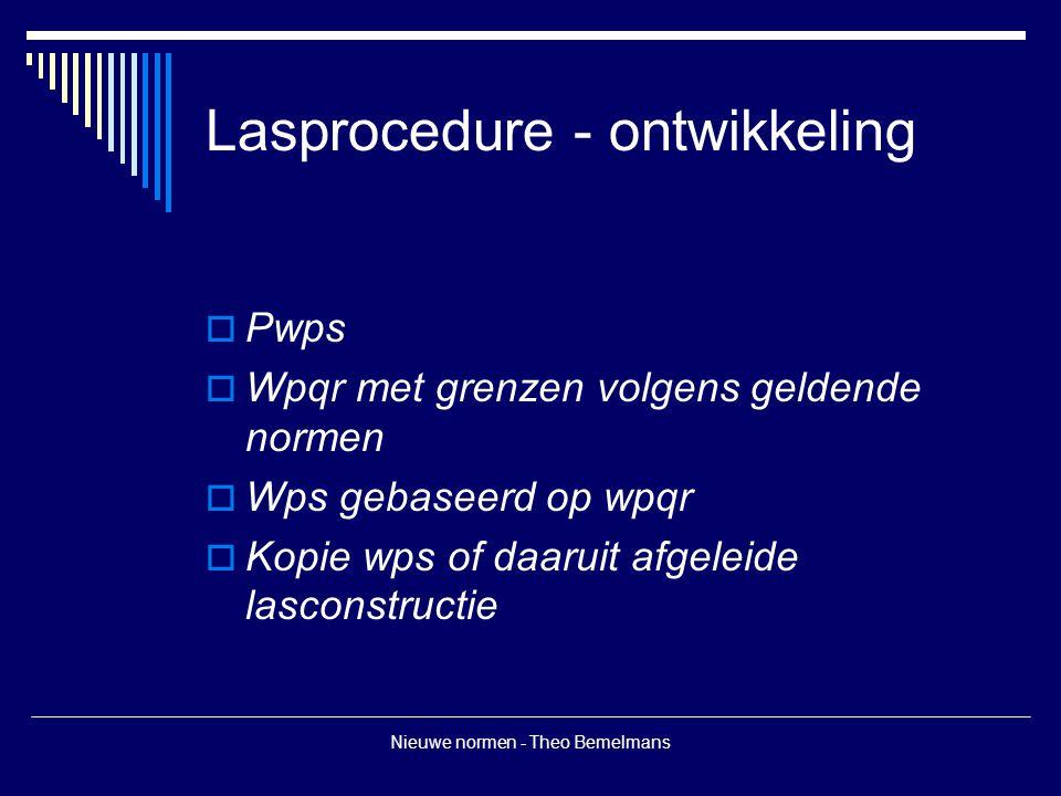 Nieuwe normen - Theo Bemelmans Lasprocedure - ontwikkeling  Pwps  Wpqr met grenzen volgens geldende normen  Wps gebaseerd op wpqr  Kopie wps of da