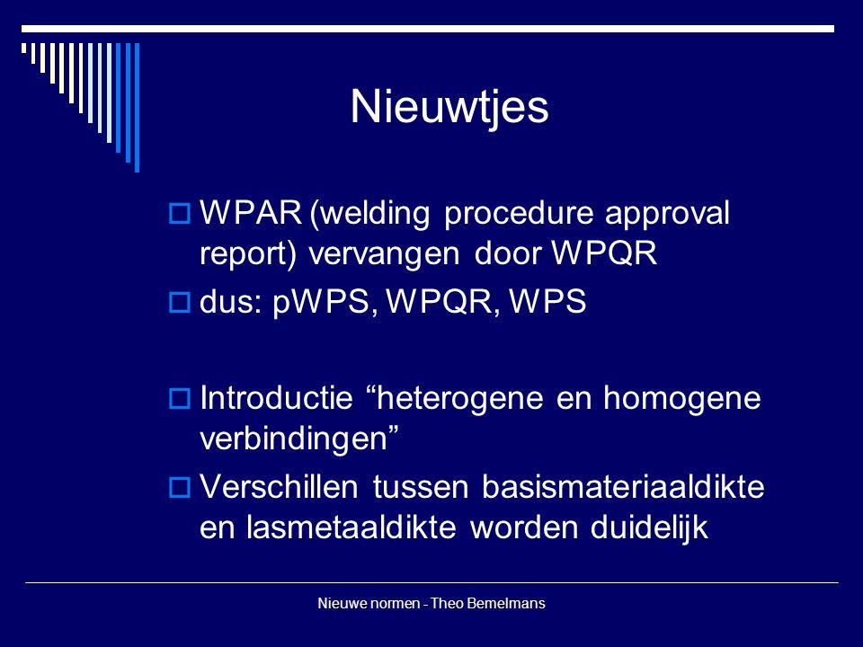 Nieuwe normen - Theo Bemelmans Nieuwtjes  WPAR (welding procedure approval report) vervangen door WPQR  dus: pWPS, WPQR, WPS  Introductie heterogene en homogene verbindingen  Verschillen tussen basismateriaaldikte en lasmetaaldikte worden duidelijk