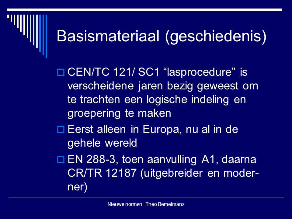Nieuwe normen - Theo Bemelmans Basismateriaal (geschiedenis)  CEN/TC 121/ SC1 lasprocedure is verscheidene jaren bezig geweest om te trachten een logische indeling en groepering te maken  Eerst alleen in Europa, nu al in de gehele wereld  EN 288-3, toen aanvulling A1, daarna CR/TR 12187 (uitgebreider en moder- ner)