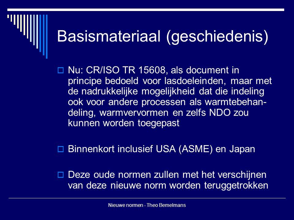 Nieuwe normen - Theo Bemelmans Basismateriaal (geschiedenis)  Nu: CR/ISO TR 15608, als document in principe bedoeld voor lasdoeleinden, maar met de nadrukkelijke mogelijkheid dat die indeling ook voor andere processen als warmtebehan- deling, warmvervormen en zelfs NDO zou kunnen worden toegepast  Binnenkort inclusief USA (ASME) en Japan  Deze oude normen zullen met het verschijnen van deze nieuwe norm worden teruggetrokken