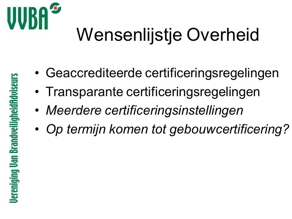 Wensenlijstje Overheid •Geaccrediteerde certificeringsregelingen •Transparante certificeringsregelingen •Meerdere certificeringsinstellingen •Op termi