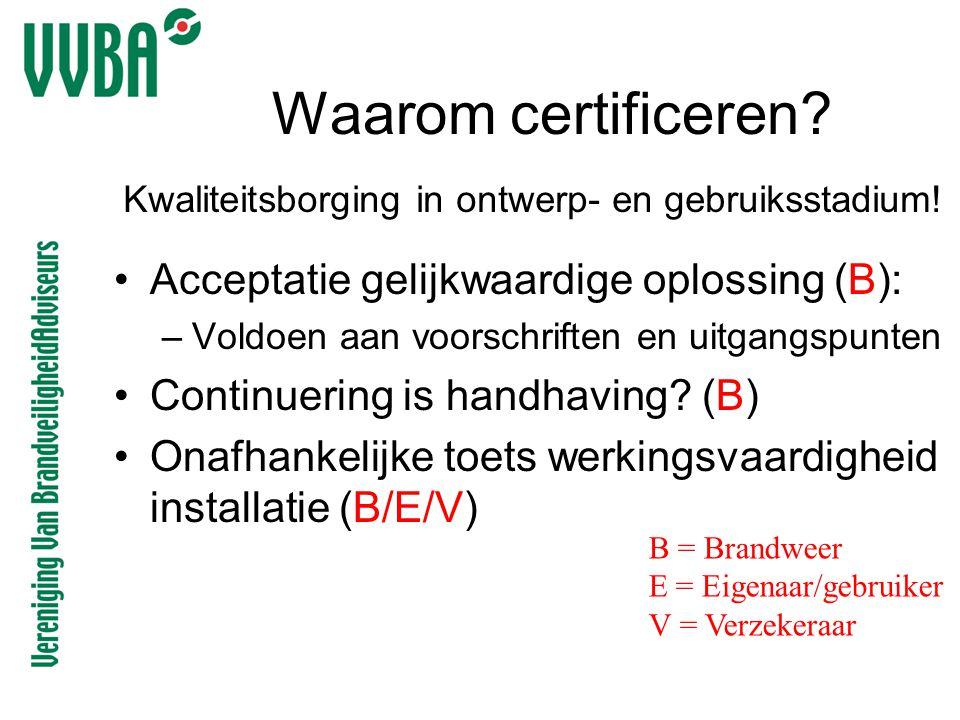 Waarom certificeren? •Acceptatie gelijkwaardige oplossing (B): –Voldoen aan voorschriften en uitgangspunten •Continuering is handhaving? (B) •Onafhank