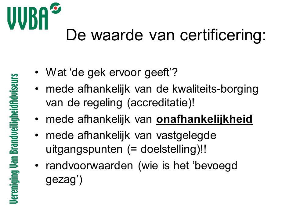 De waarde van certificering: •Wat 'de gek ervoor geeft'? •mede afhankelijk van de kwaliteits-borging van de regeling (accreditatie)! •mede afhankelijk