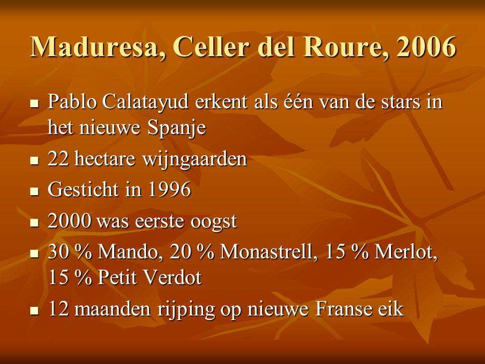 Maduresa, Celler del Roure, 2006  Pablo Calatayud erkent als één van de stars in het nieuwe Spanje  22 hectare wijngaarden  Gesticht in 1996  2000