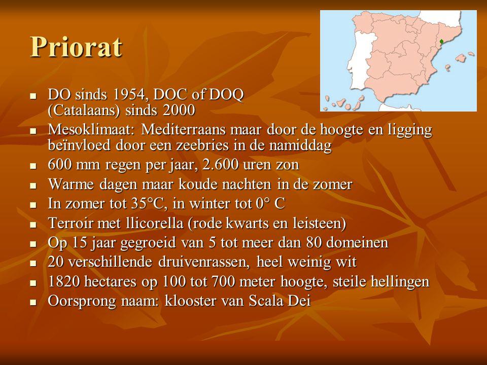 Priorat  DO sinds 1954, DOC of DOQ (Catalaans) sinds 2000  Mesoklimaat: Mediterraans maar door de hoogte en ligging beïnvloed door een zeebries in d
