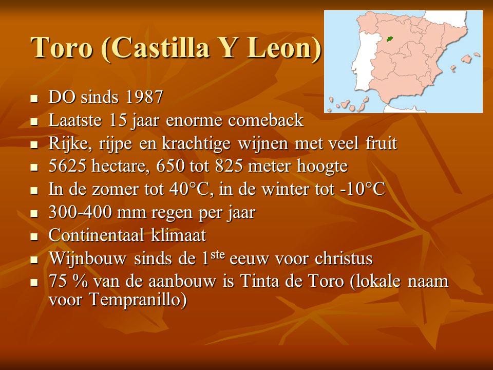 Toro (Castilla Y Leon)  DO sinds 1987  Laatste 15 jaar enorme comeback  Rijke, rijpe en krachtige wijnen met veel fruit  5625 hectare, 650 tot 825