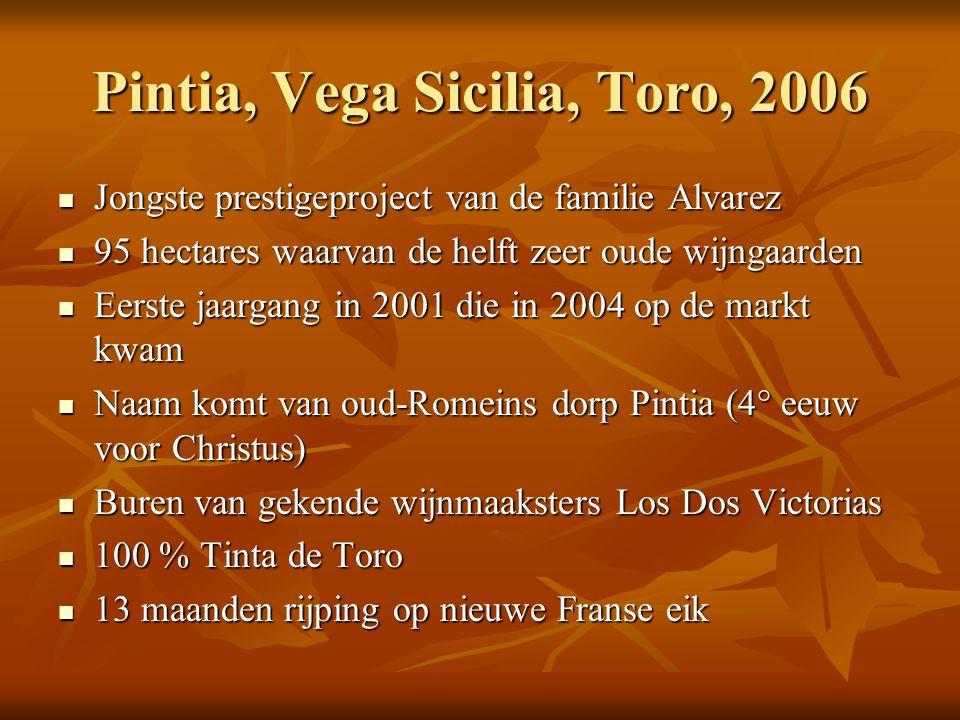 Pintia, Vega Sicilia, Toro, 2006  Jongste prestigeproject van de familie Alvarez  95 hectares waarvan de helft zeer oude wijngaarden  Eerste jaarga