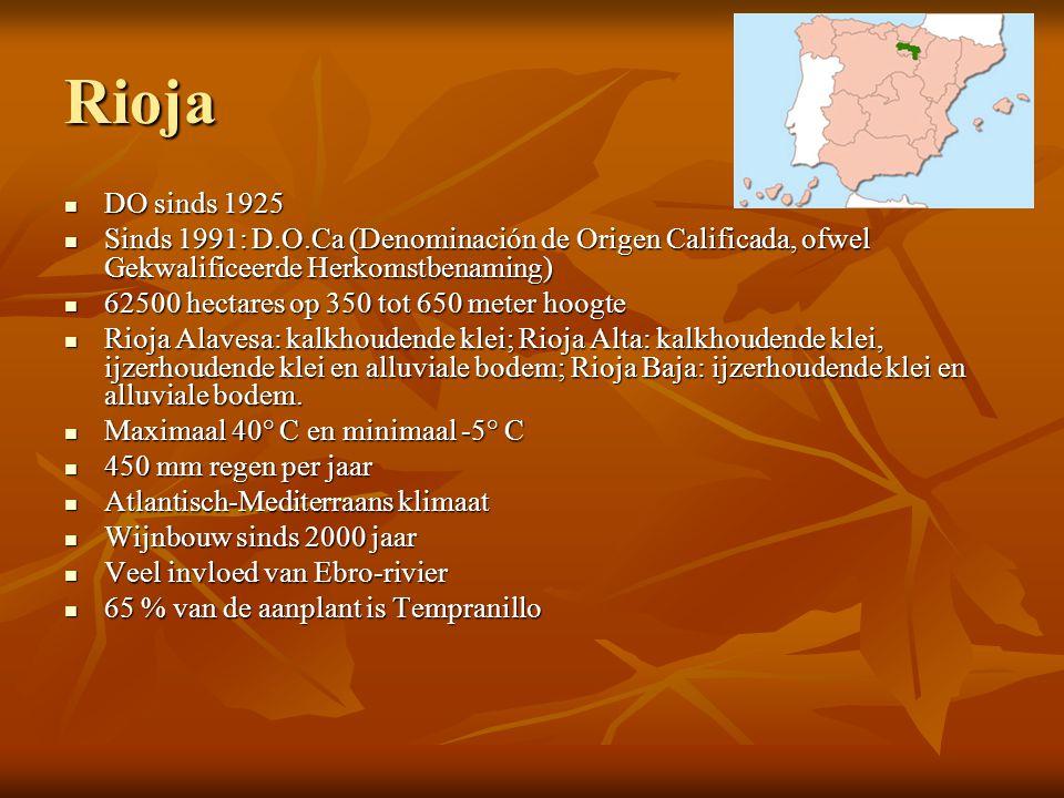 Rioja  DO sinds 1925  Sinds 1991: D.O.Ca (Denominación de Origen Calificada, ofwel Gekwalificeerde Herkomstbenaming)  62500 hectares op 350 tot 650