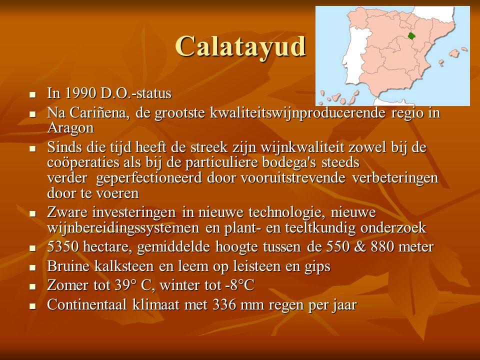 Calatayud  In 1990 D.O.-status  Na Cariñena, de grootste kwaliteitswijnproducerende regio in Aragon  Sinds die tijd heeft de streek zijn wijnkwalit