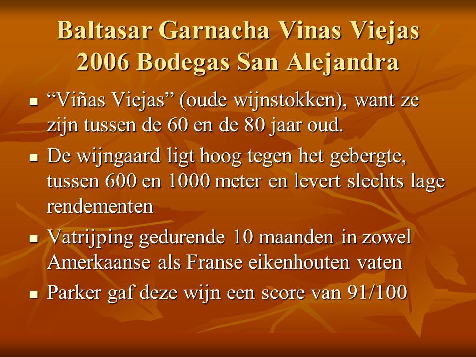 """Baltasar Garnacha Vinas Viejas 2006 Bodegas San Alejandra  """"Viñas Viejas"""" (oude wijnstokken), want ze zijn tussen de 60 en de 80 jaar oud.  De wijng"""