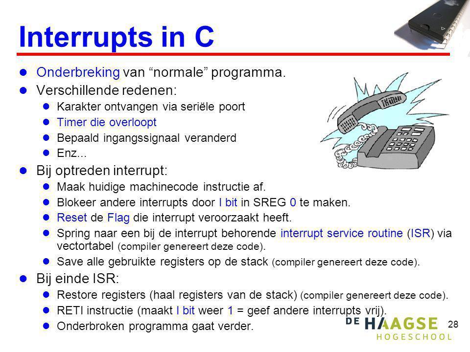 28 Interrupts in C  Onderbreking van normale programma.