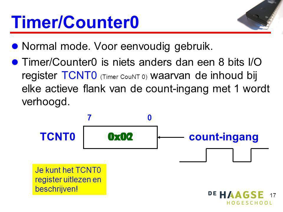 17 Timer/Counter0  Normal mode. Voor eenvoudig gebruik.  Timer/Counter0 is niets anders dan een 8 bits I/O register TCNT0 (Timer CouNT 0) waarvan de