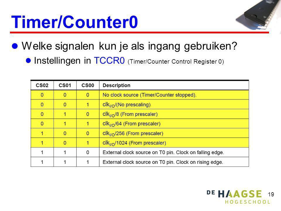 19 Timer/Counter0  Welke signalen kun je als ingang gebruiken?  Instellingen in TCCR0 (Timer/Counter Control Register 0)