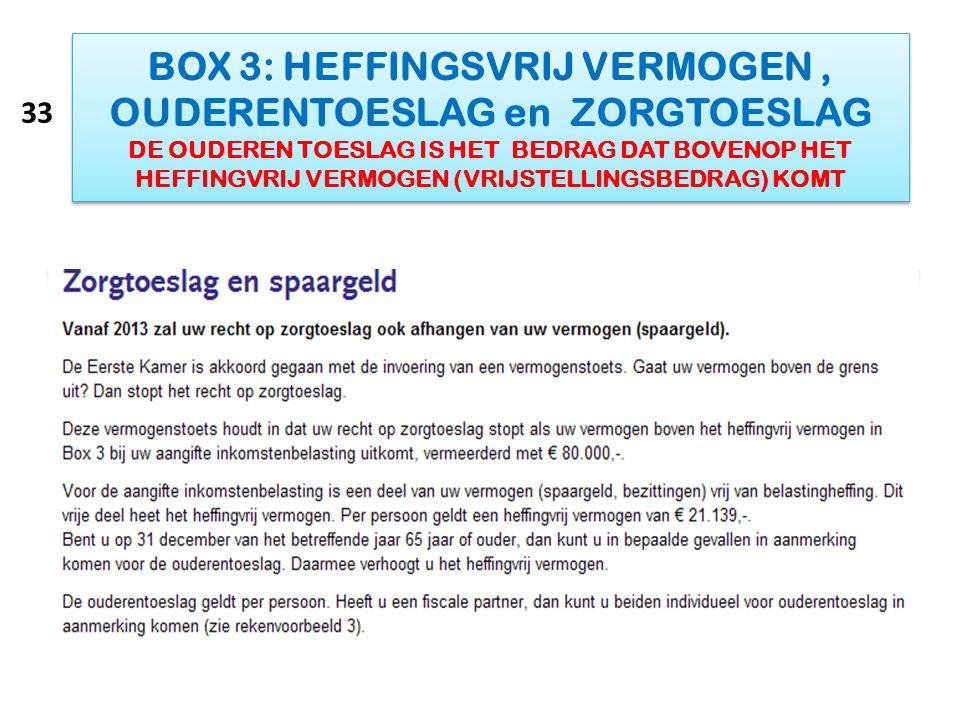 BOX 3: HEFFINGSVRIJ VERMOGEN, OUDERENTOESLAG en ZORGTOESLAG DE OUDEREN TOESLAG IS HET BEDRAG DAT BOVENOP HET HEFFINGVRIJ VERMOGEN (VRIJSTELLINGSBEDRAG