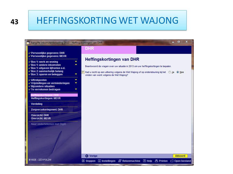 HEFFINGSKORTING WET WAJONG 43