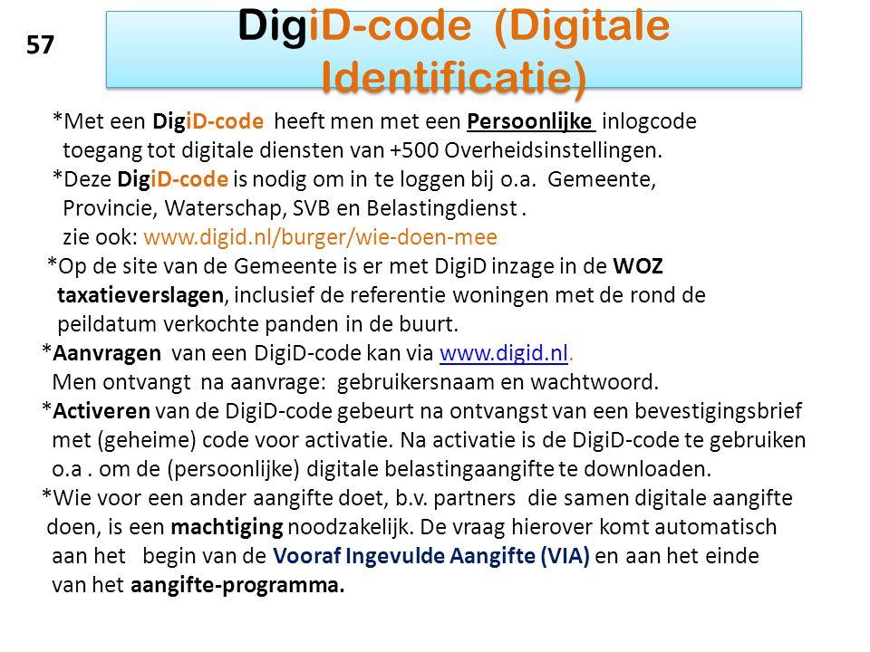 DigiD-code (Digitale Identificatie) *Met een DigiD-code heeft men met een Persoonlijke inlogcode toegang tot digitale diensten van +500 Overheidsinste