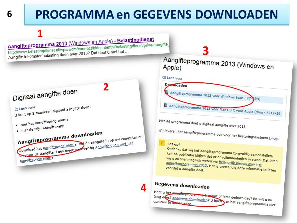 PROGRAMMA en GEGEVENS DOWNLOADEN 1 2 3 4 6